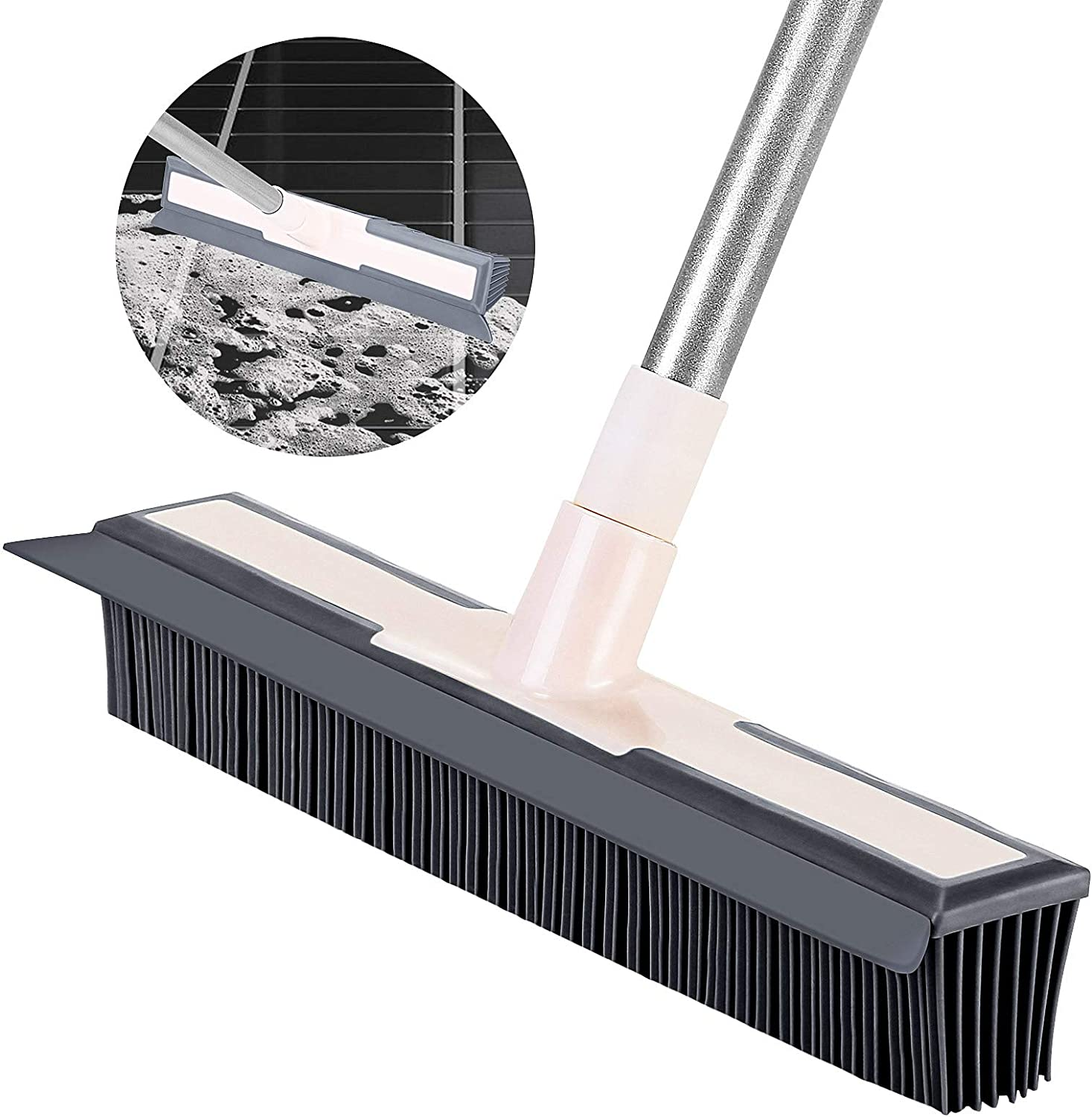Holulo 2in1 Rubber Broom with Squeegee Bombing free shipping Sale SALE% OFF Removal Pet Bath for Hair