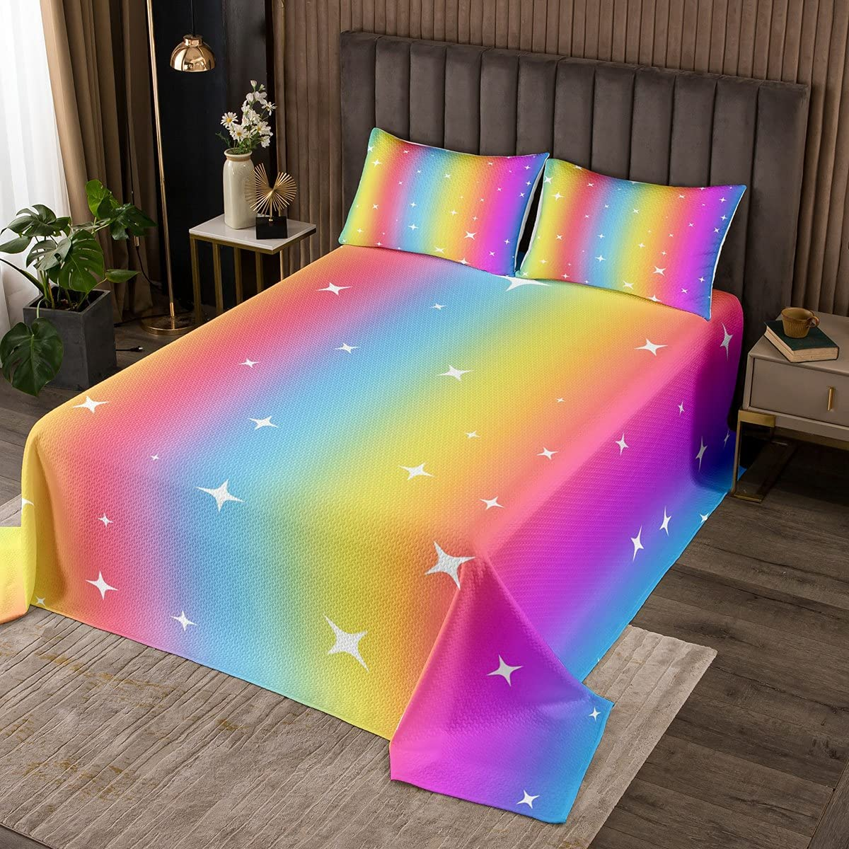 Erosebridal Colorful Gradient Bedspread King Ranking TOP18 NEW before selling Rainb for Kids Boys