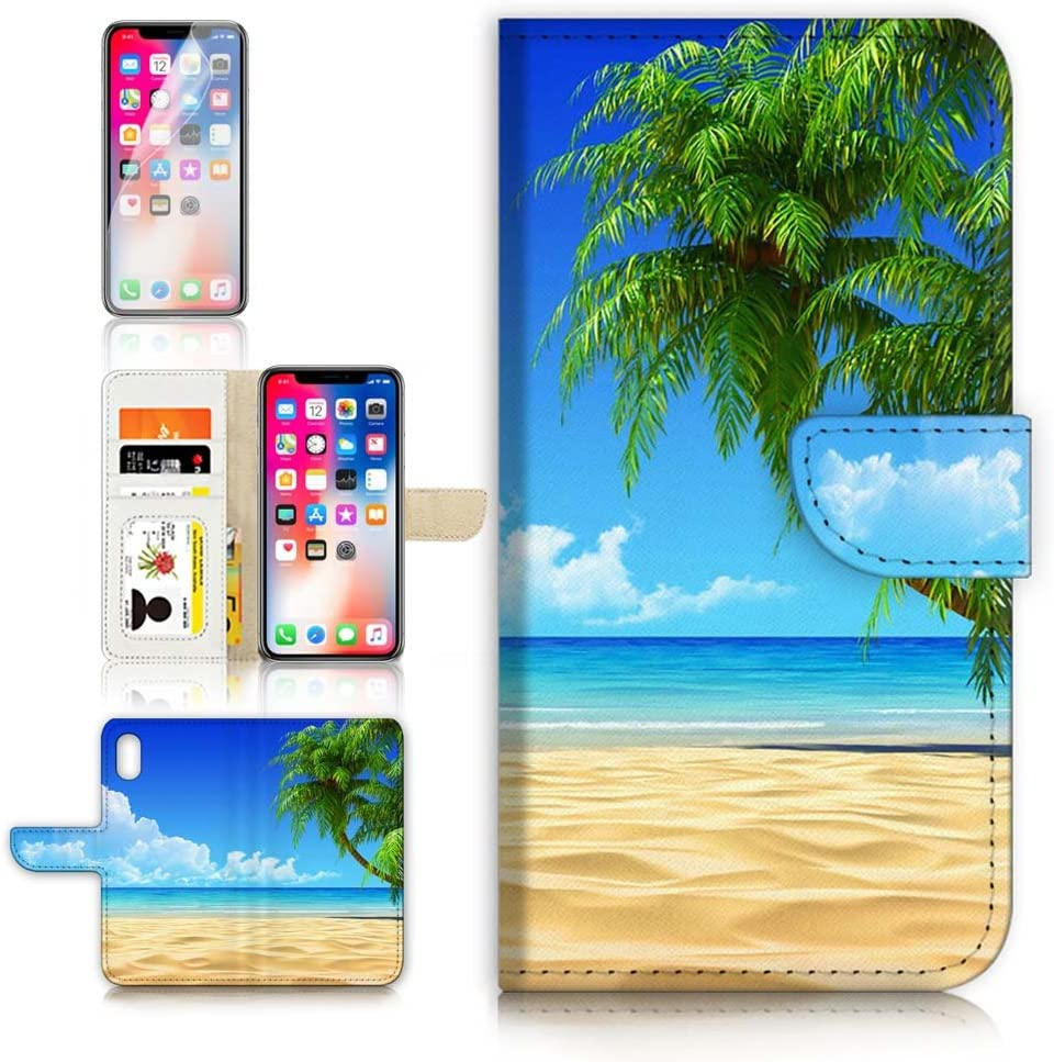 (for iPhone XR) Flip Wallet Case Cover & Screen Protector Bundle - A20101 Beach Sea Sky