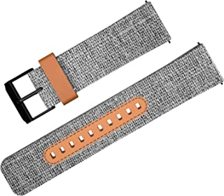 ZHIKE Watch Band, Classic Canvas & Leather 22mm Replacement Watch Strap, Quick Release Watch Bands with Black Buckle for Men, Women (Grey)