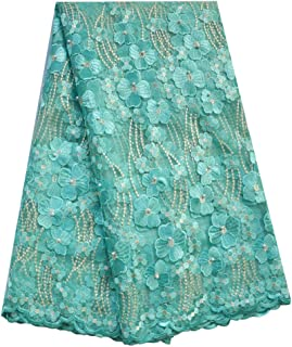 SanVera17 Manual Beading Glitter Stone African Lace Net Fabrics Nigerian Saree Fabric Embroidered and Guipure Cord Lace for Party Wedding (Light Green) 5 Yards