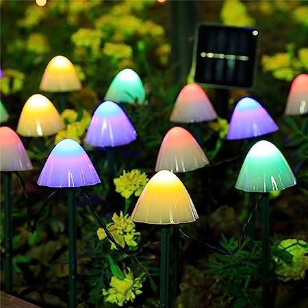 HULPPRE Set of 12pcs Multi-Color 8 Modes 600Mah Mini Mushroom Solar Lights Decor Solar Pathway Lights Outdoor Decoration Fairy Color Changing Solar String Light for,Backyard,Wedding,Party,Christmas