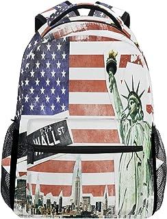 Mochila de collage vintage de la ciudad de Nueva York, impermeable, bolsa de hombro, mochila de gimnasio, bandera de Estados Unidos, bolsa de viaje al aire libre para niños, niñas, hombres