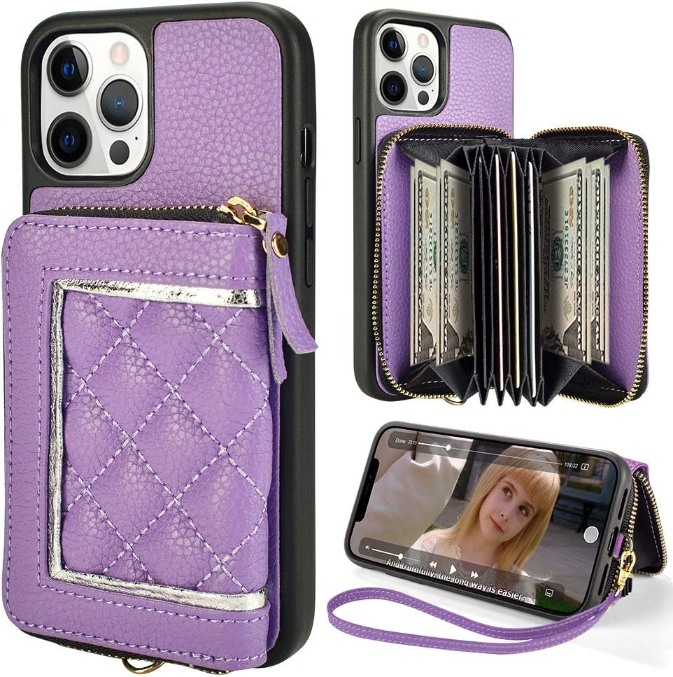 ZVE Zipper Wallet Case for iPhone 12 Pro Max(5G), Phone Case with Card Holder Slot Wrist Strap Handbag Purse Protective Case Cover Design for 2020 iPhone 12 Pro Max, 6.7 inch-Light Purple