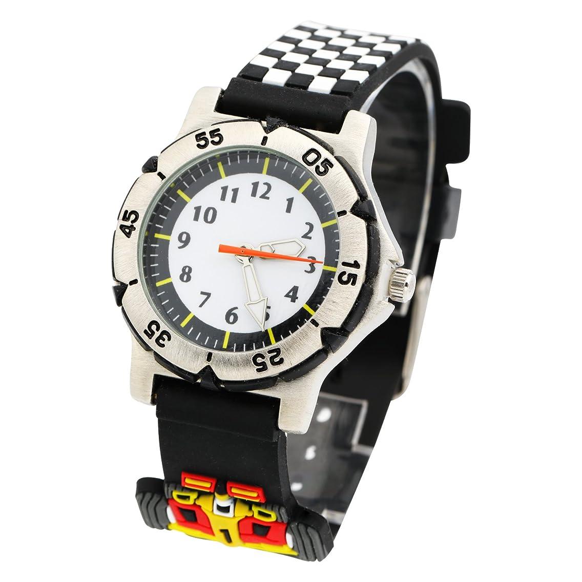 ELEOPTION Waterproof Boys Girls Kids Watches Fashion Cartoon Children Gift Analog Quartz Cute Wristwatch Box (Racing Car- Black)