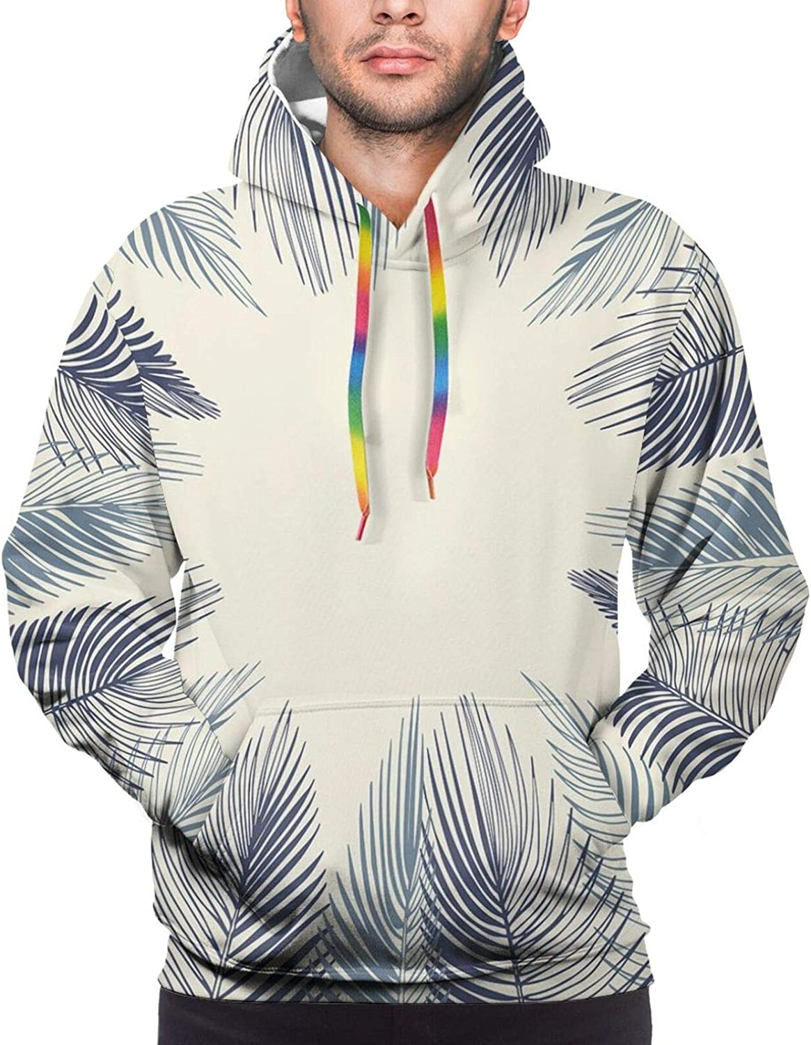 Men's Hoodies Sweatshirts,Hand Drawn Style Yellow Daisies Like Flowers with Black Lines and Leaves Print