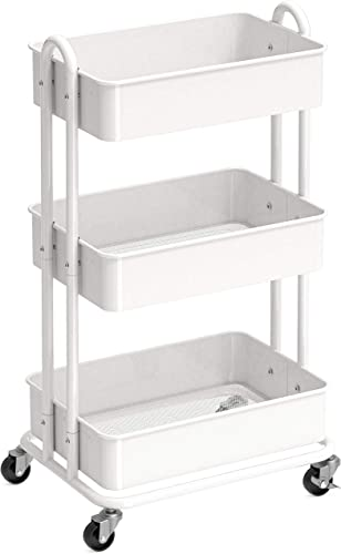 wholesale SimpleHouseware Heavy Duty 3-Tier new arrival Metal discount Utility Rolling Cart, White sale