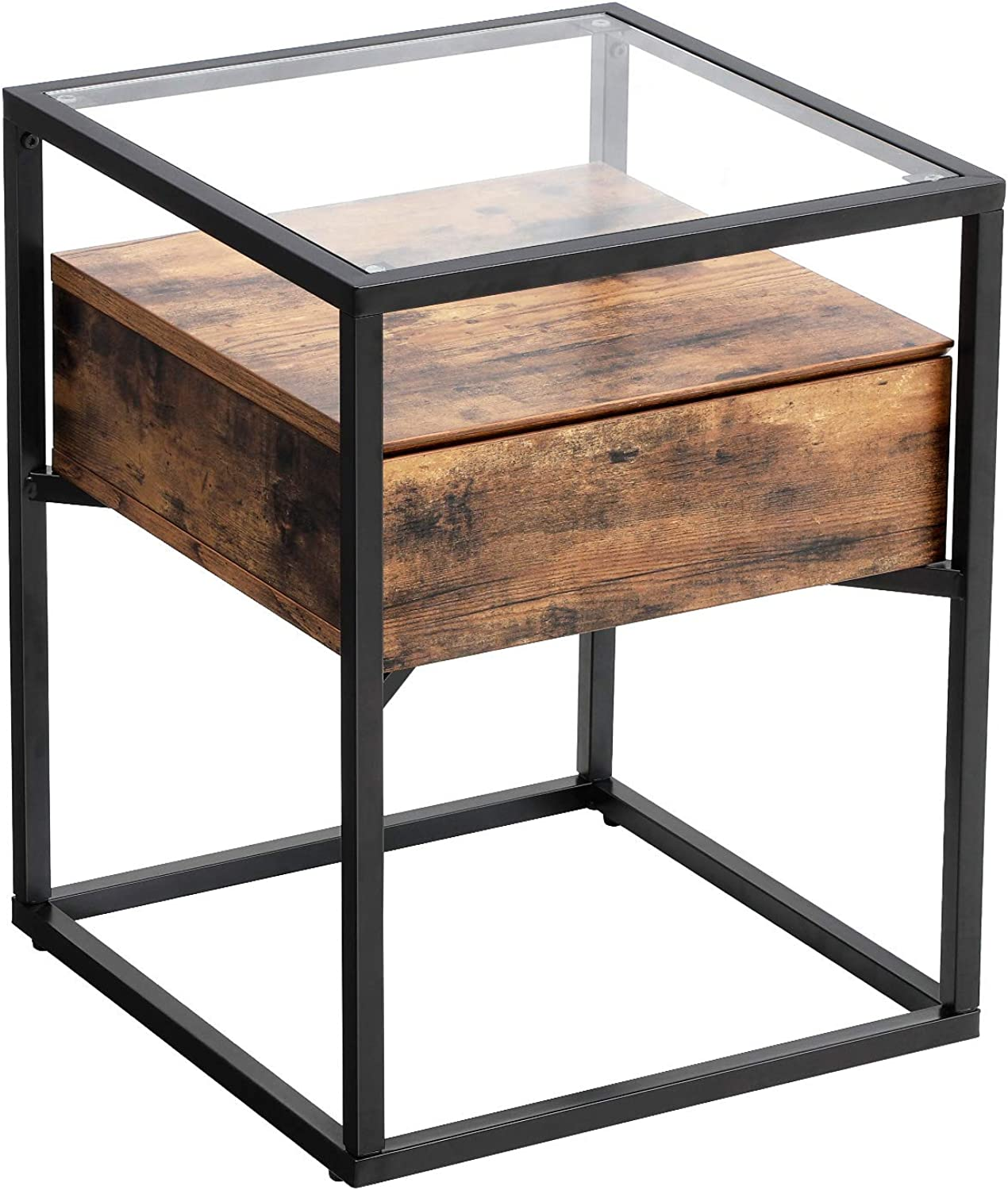VASAGLE Industrial Side, Tempered Glass End Table with Drawer and Rustic Shelf, Decoration in Living Room Lounge Foyer, Stable Iron Frame ULET04BX