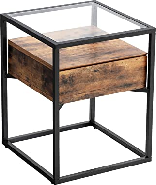 VASAGLE GLATAL Side Table, Nightstand, Tempered Glass End Table, with Drawer and Shelf, Decoration in Living Room, Stable Steel Frame, Industrial, Rustic Brown and Black ULET04BXV1