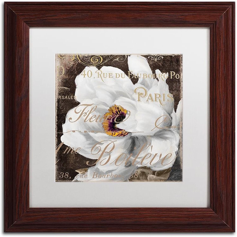 Trademark Fine Art Fleurs white III by color Bakery, White Matte, Wood Frame 11x11