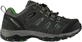 Official Karrimor Mount Low Boys Waterproof Walking Shoes Charcoal/Green Trainers Footwear
