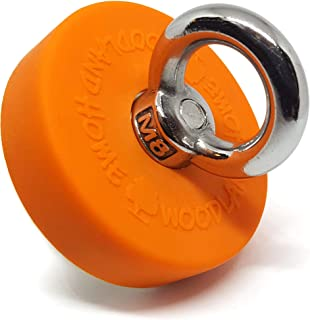 Deluxe Fishing Magnet Super Strong With Locked Eyebolt Threads 330lbs Pull Force | Durable Orange Rubber | Neodymium Rare Earth Magnet | 2.36 inch(60mm) | Magnet Fishing Lake Treasure Hunt