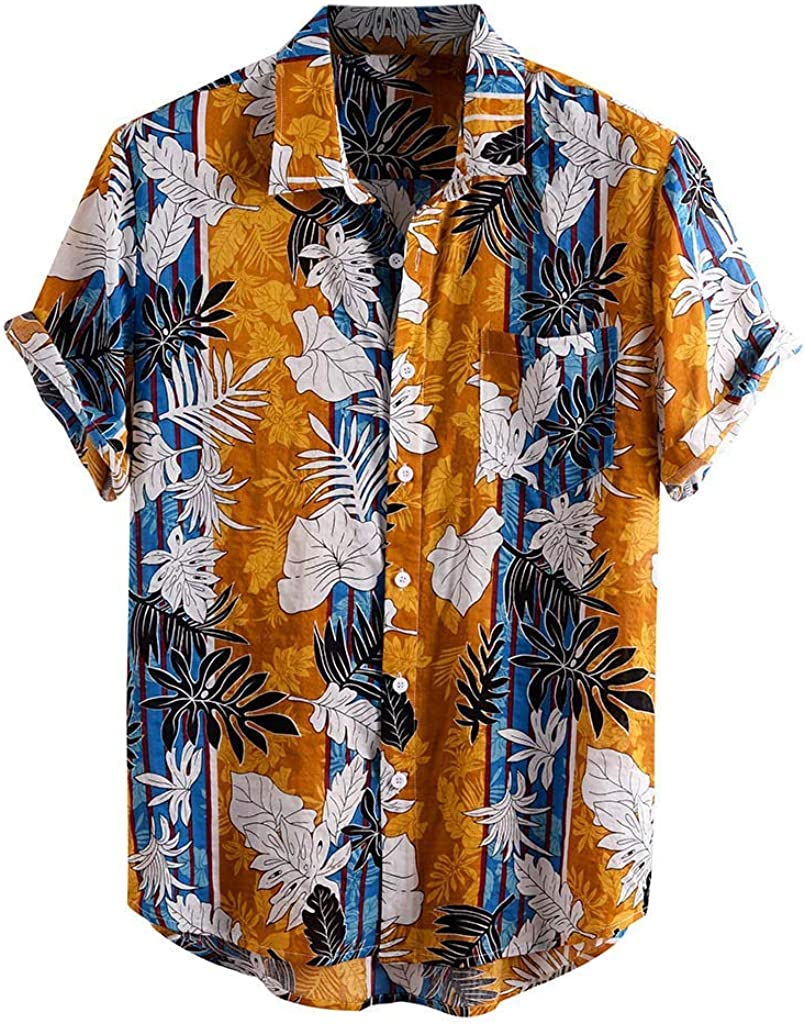 FONMA Summer Shirts for Men Printed Turn Down Collar Short Sleeve Casual Shirts