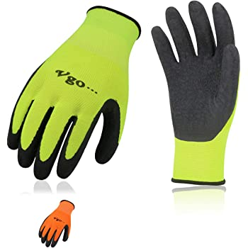 G /& F 1516 6 Pairs Pack Premium High Visibility Low emissions Green Work and gardening Gloves for Men and Women.MicroFoam Textured Coated Palm and Fingers Gloves for Gardening Work,Size Medium,Green