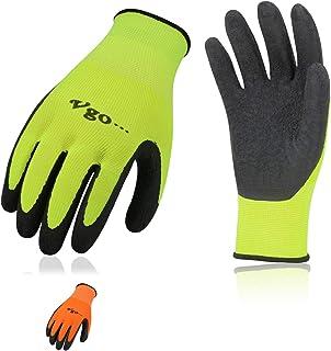 Vgo 6Pairs Latex لاستیک پوشش باغبانی و دستکش کار (اندازه XL ، سبز با دید بالا + نارنجی ، RB6023)