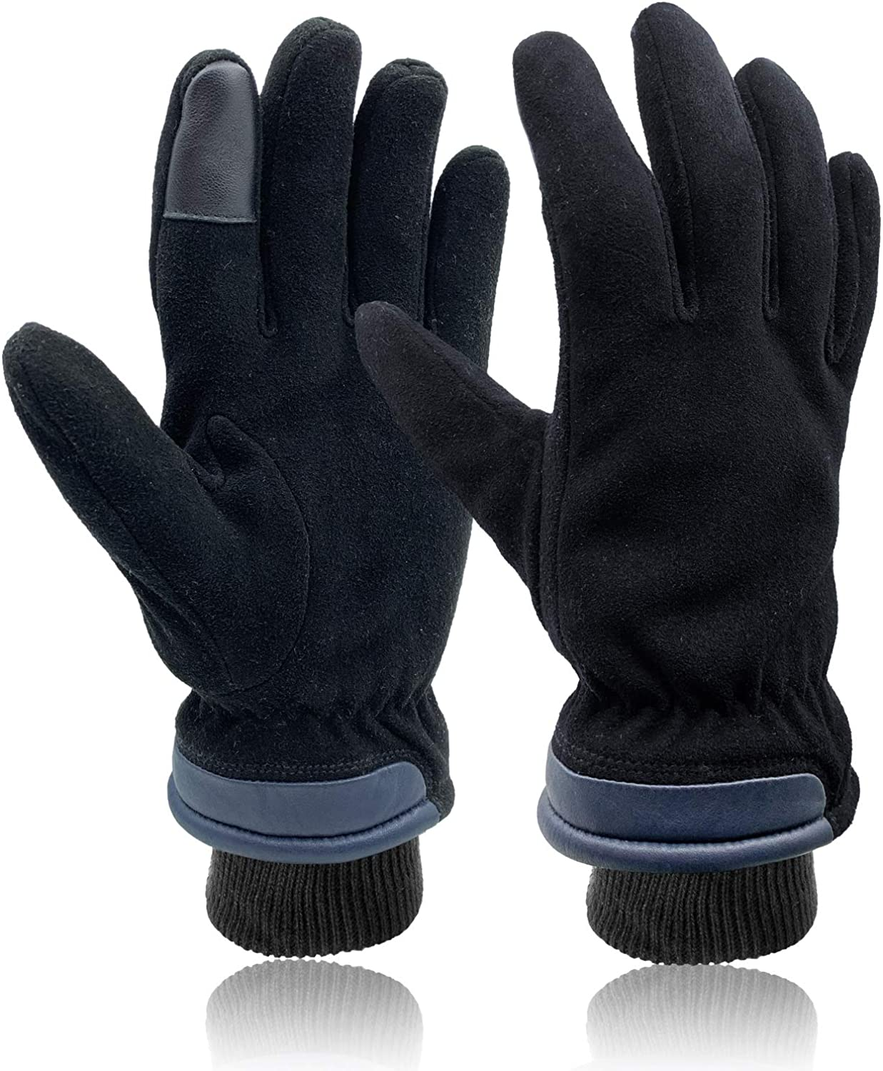SKYDEER Super Soft Full Deerskin Suede Leather Touch Screen Warm Winter Gloves (100g 3M Thinsulate Insulation)