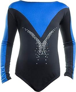 Filles Bleu Scribble//Bleu à Manches Longues Justaucorps Danse Gymnastique pratique Disco