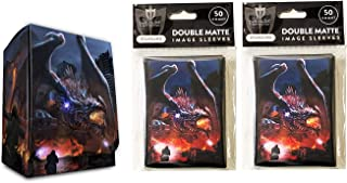 Hasta La Vista Dragon Invasion Deck Box + 100 Double Matte Sleeves (fits MTG, Pokemon, Force of Will Cards)