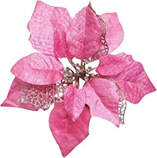 Crazy Night (Pack of 12 Glitter Poinsettia Christmas Tree Ornaments (Pink)