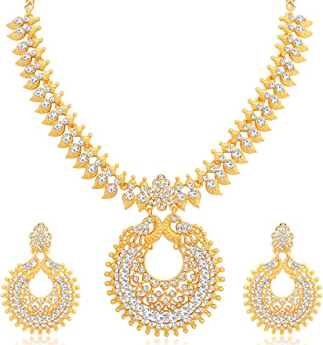 Ethnic Gold Plated Wedding Jewellery Austrian Diamond Peacock Necklace Set For Women N79642 D1