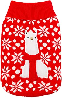OFPUPPY Christmas Applique Alpaca Dog Sweater - Festive Ugly Sweaters Apparel Dogs Winter Clothes
