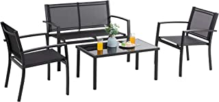 Vongrasig 4 Pieces Patio Furniture Sets, Small Modern...