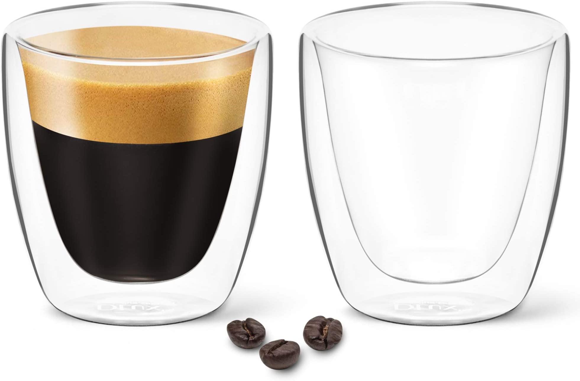 DLux Espresso Coffee Cups 3oz, Double Wall, Clear Glass set of 2 Glasses, Insulated Borosilicate Glassware Tea Cup mug