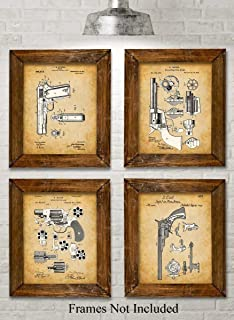 Original Colt Pistols Patent Art Prints - Set of Four Photos (8x10) Unframed - Makes a Great Gift Under $20 for Gun Owners