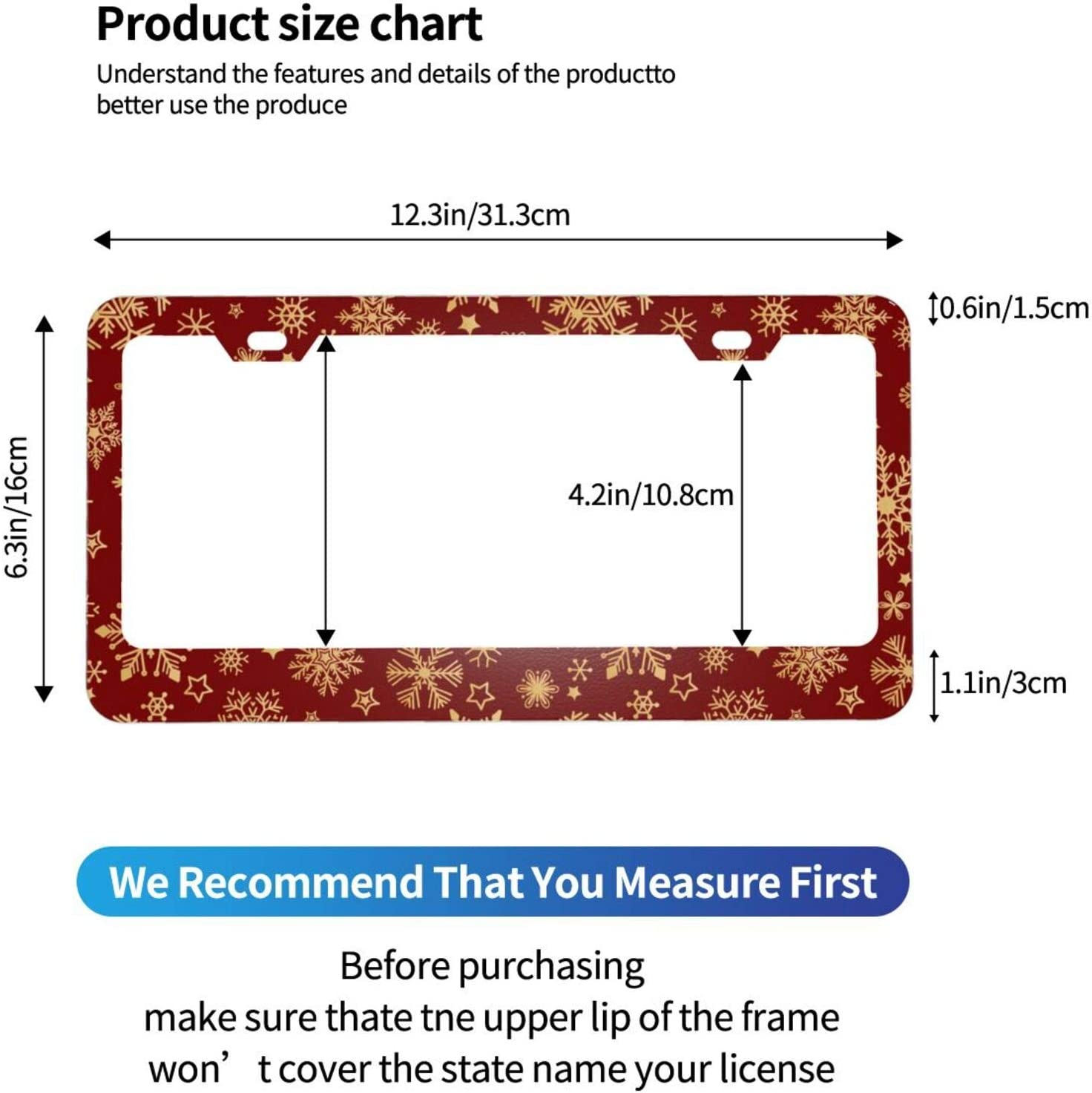 Aluminum Car Covers Frame with Screws Caps Tianheyue 2Pack Sugar Skull and Flowers Car License Plate Frames