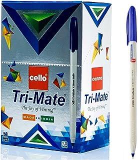 Cello Tri-Mate Ballpoint Pen, 1.0mm - 50 Pieces (Blue)