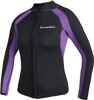 Lemorecn Women's 3mm Wetsuits Jacket Long Sleeve Neoprene Wetsuits Top