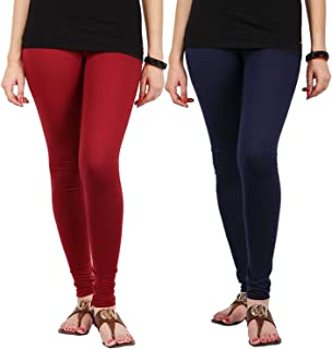 FabLab Cotton Lycra Churidar Leggings(FLCLCOMBO2MNBL,Maroon, Navy Blue,Free Size) Combo Pack of 2