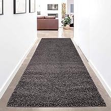 carpet city Hoogpolig tapijtloper effen - antraciet - 80x300 cm - Shaggy langpolig Uni slaapkamer hal - zacht & pluizig - ...