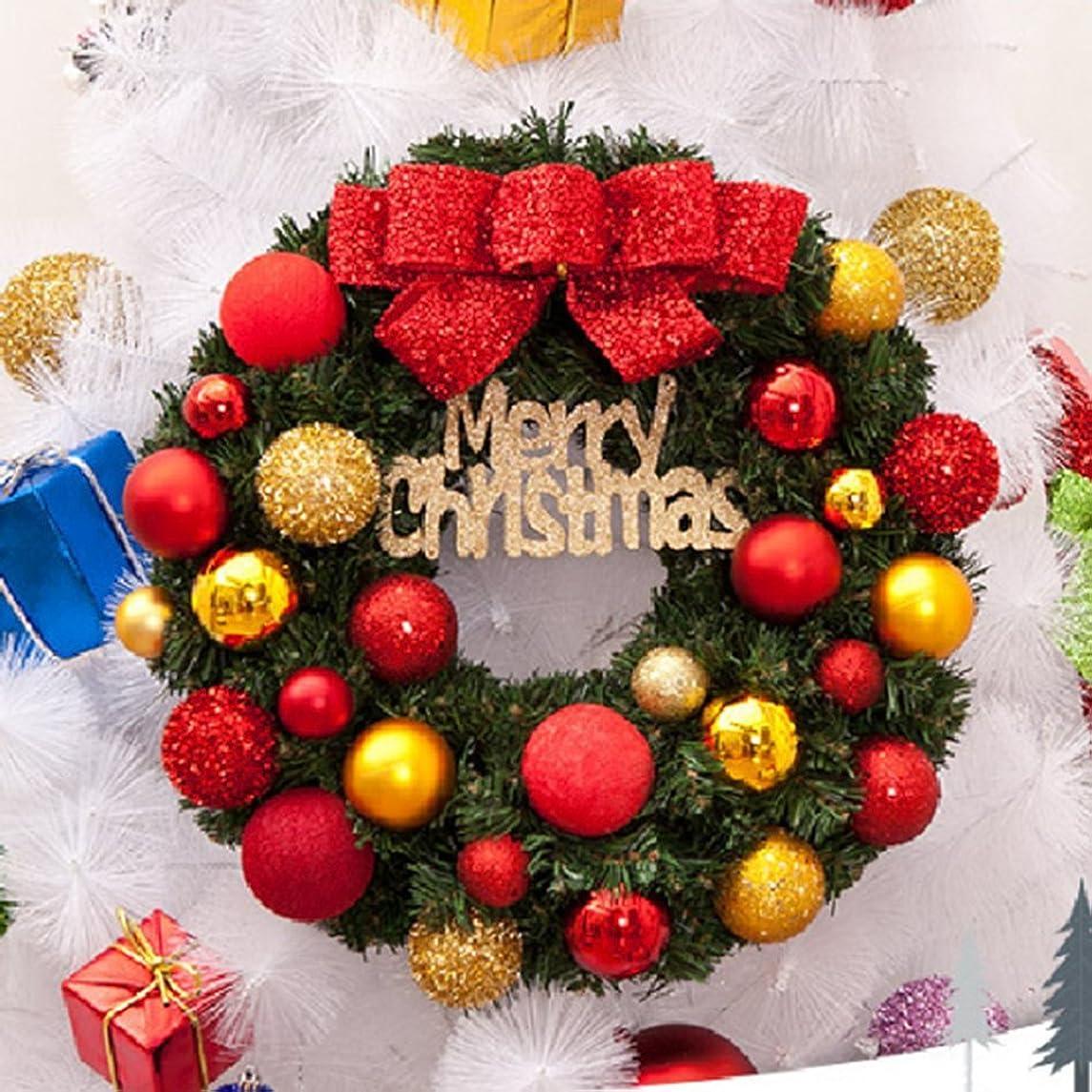 罪人死傷者チャールズキージングクリスマス リース 玄関 ドア ゴージャス かわいい 選べる 3種類 ゴールド レッド パウダースノー 贈り物 にも Merry Christmas (レッド)