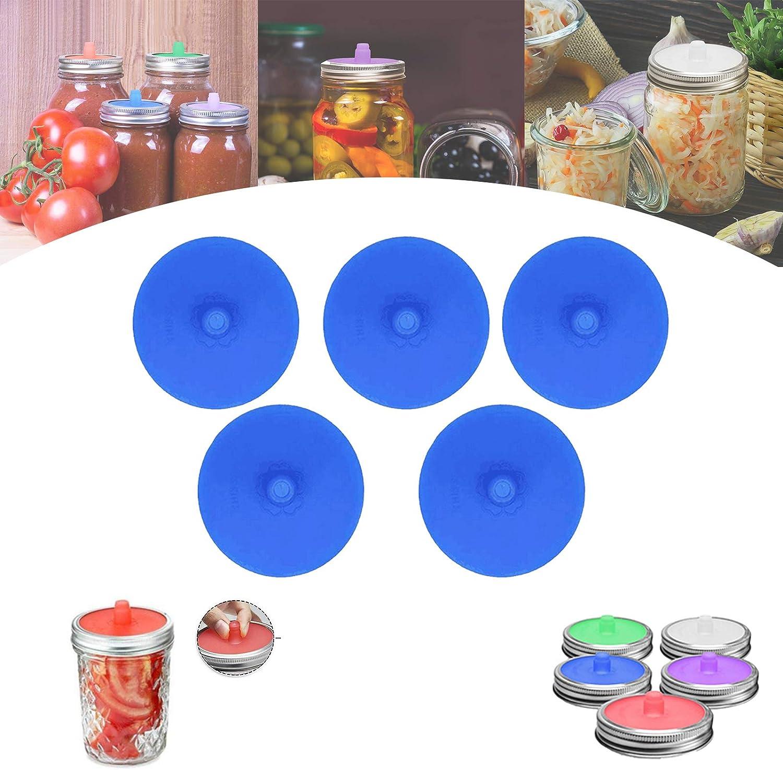 5 Pcs Silicone Fermentation Lids Silicone Waterless Airlock Fermentation Lids for Wide Mouth Regular Mouth Mason Jar Fermenter Cap 5pack/&cap