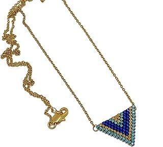 Collana giapponese perle blu verde oro triangolo tessitura chevron catena acciaio inox regali personalizzati Natale amici ...