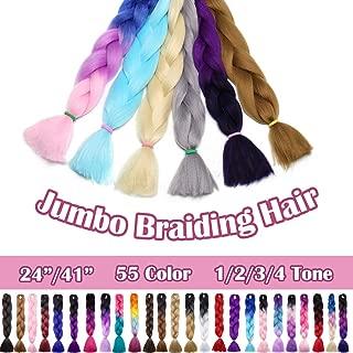 SEGO 24 Inch Ombre Jumbo Braiding Hair Kanekalon Jumbo Braid Hair Extensions African Long Jumbo Braids for Box Braids Crochet Hair High Temperature Fiber 3 Tone Colored Purple/Rose Red/Pink 1 Bundle