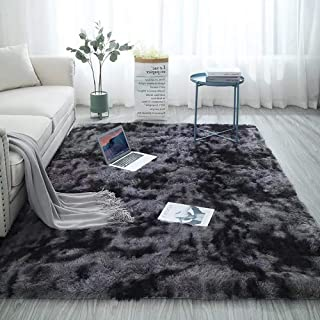 Shag Collection Area Rug Soft Comfy Rug for Bedroom Living Room Fluffy Faux Fur Carpet for Kid Nursery Plush Shaggy Rug Fuzzy Decorative Floor Rugs Contemporary Luxury Large Accent Rug Grey 5.3 x 6.6