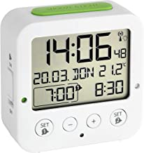 TFA Dostmann 60.2528.02 Bingo draadloze wekker, met automatische Achtergrondverlichting, datum, temperatuurweergave en twee wektijden, wit/groen.
