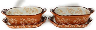 Temp-tations Set-of-Two 1/2 Qt Squoval Bakers w/Lid-Its (Tray), Mini Bakers Single Serving (Floral Lace Spice)