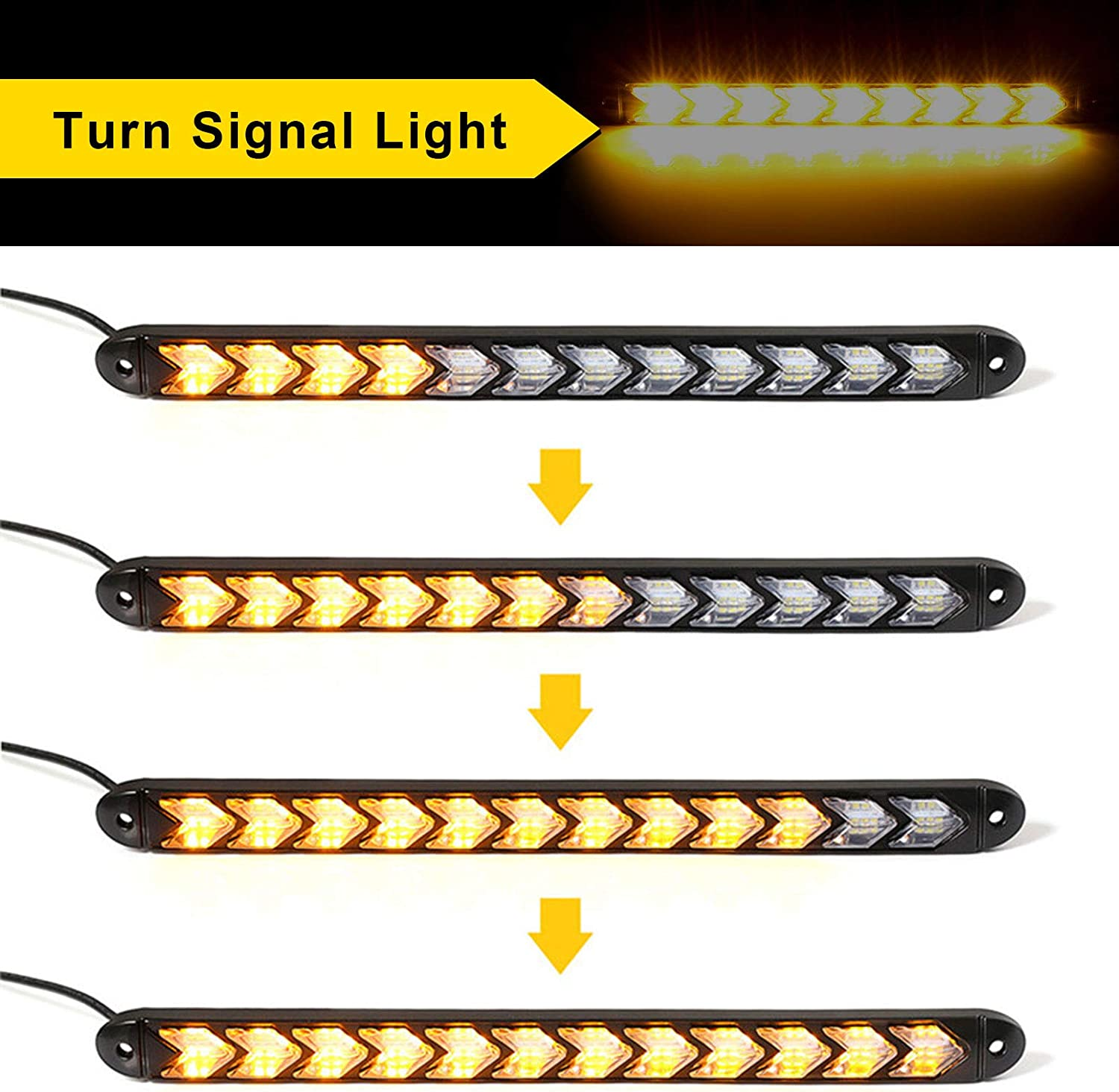 Amber DRL Strip Switchback Flexible Flowing LED Lights 6000K//3000K Daytime running light Water Resistant Runs daylight Turn Signal Head Light 2pcs 9led 25cm//9.84inch Dual Color White//Yellow