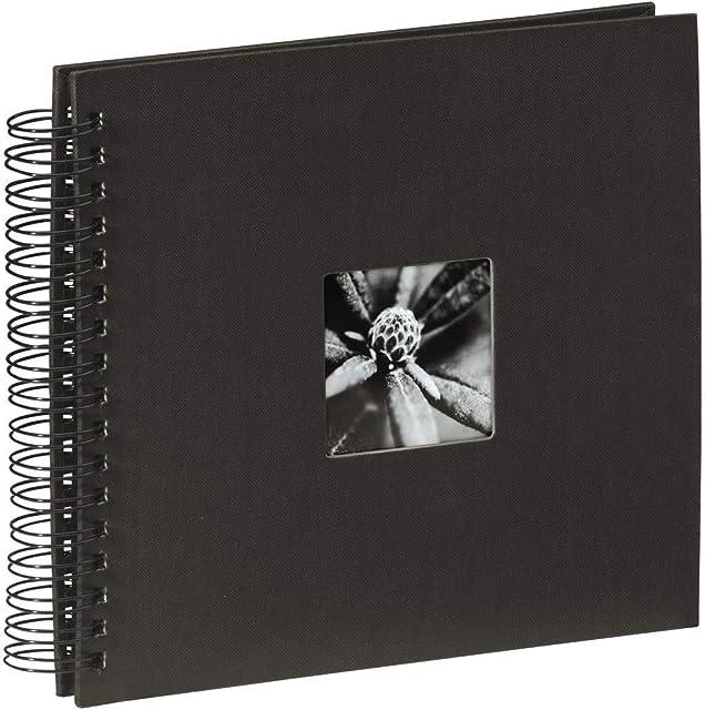 Hama Fine Art - Álbum de fotos 50 páginas negras (25 hojas) álbum con espiral 28 x 24cm con compartimento para insertar foto negro