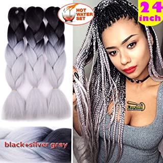 Jumbo Braiding Hair 3pcs (Black/Silver grey) Ombre Jumbo Braid Hair Extension For Braids Twist Box Braids Hair