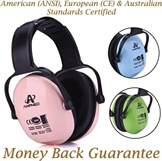 Hearing Protection Earmuff/Headphone for Toddler, Kids, Teen, Young Adult. Amplim Noise Reduction Headphones, Sound Canceling Earmuffs Ear Defenders - Airplane, Concert, Outdoor, Lawn Mower - Pink