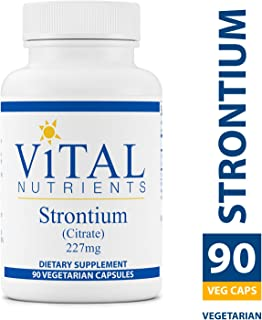 Vital Nutrients - Strontium (Citrate) 227 mg - Supports Healthy Teeth and Bones - 90 Vegetarian Capsules per Bottle