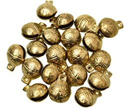 Monrocco 20Pcs Antique Gold 0.7 x 0.6 Inches Brass Bells Vintage Indian Bells Charms Pendants for Crafting,Home Door Decor