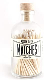White Tip Colored Matches. Match Sticks Decorative Glass Bottle. Farmhouse Home Decor. Unique Gifts for her. Best Seller Most Popular Item