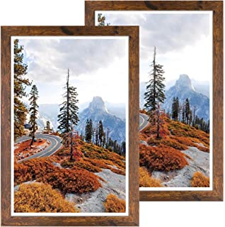 DBWIN 12x18 Picture Frame Rustic Brown Wood Pattern Poster Frame Plexiglass Front 2 Pack for Art Prints Puzzles Murals Wal...