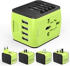 Adaptador de Viaje HUANUO Mundial para 224 países con 4 Puertos USB + 1 Toma de CA con Pantalla LED