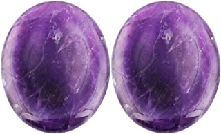 rockcloud Natural Worry Stone,Thumb Palm Stones for Anxiety, Healing Crystal, Amethyst